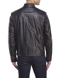 Kenneth Cole Reaction | Black Faux Leather Buckle Collar Jacket for Men | Lyst