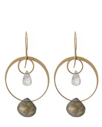 Melissa Joy Manning | Metallic Gold Rainbow Moonstone And Labradorite Two Drop Earrings | Lyst