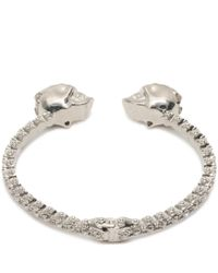Alexander McQueen | Metallic Jewelled Twin Skull Bangle | Lyst