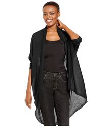 Eileen Fisher | Black Draped Hi-low Shawl Cardigan | Lyst