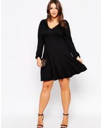 ASOS - Black Curve 70's Bell Sleeve Swing Dress - Lyst
