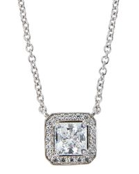 Fantasia by Deserio - White Cz Princess-cut Pendant Necklace - Lyst