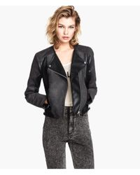 H&M - Black Biker Jacket - Lyst