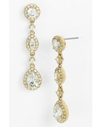 Nadri - Metallic Framed Cubic Zirconia & Crystal Drop Earrings - Lyst