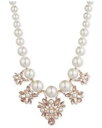 Givenchy | White Gold-Tone Vintage Rose And Imitation Pearl Drama Collar Necklace | Lyst