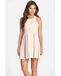 BCBGeneration | Pink Mixed Media Fit & Flare Dress | Lyst