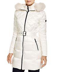 BCBGMAXAZRIA - White Quilted Coat With Fox Trim - Lyst