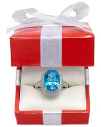 Macy's | Blue Topaz (6 Ct. T.w.) And Diamond (1/3 Ct. T.w.) Ring In 14k White Gold | Lyst