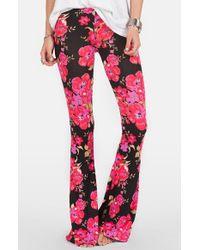 Volcom | Black 'lottie Dah' Print Flare Pants | Lyst