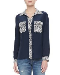 Marc By Marc Jacobs - Blue Bianca Print Crepe De Chine Blouse - Lyst