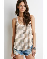 Forever 21 | Gray Striped Racerback Tank You've Been Added To The Waitlist | Lyst