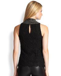 Ralph Lauren Black Label - Black Adelle Beaded Lace Top - Lyst