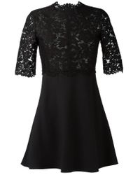 Valentino - Black Lace-Top Flared Dress - Lyst