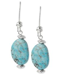 Robert Lee Morris | Blue Silver-tone Semi-precious Turquoise Drop Earrings | Lyst