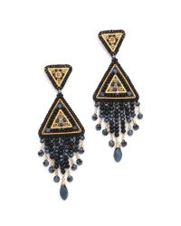 Miguel Ases | Metallic Swarovski Chandelier Earrings | Lyst