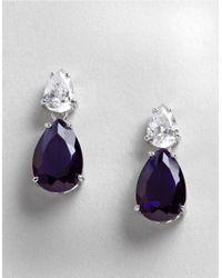 Lord & Taylor | Blue Cubic Zirconia And Sterling Silver Teardrop Earrings | Lyst