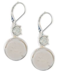 Anne Klein | Metallic Silver-tone White Stone Drop Earrings | Lyst