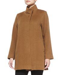 Fleurette - Brown Stand-Collar Camel Hair Coat - Lyst