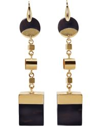 Isabel Marant   Black Brass And Buffalo Horn Wedge Earrings   Lyst