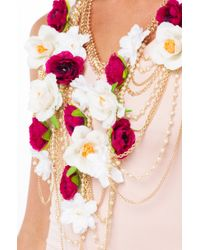 AKIRA - Armor Of Roses Statement Necklace - White/purple - Lyst