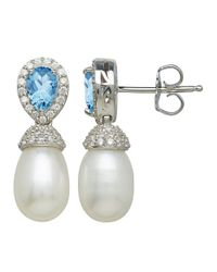 Lord & Taylor | Sterling Silver And Fresh Water Pearl Earrings With Blue And White Topaz Stones | Lyst