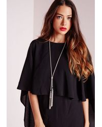 Missguided - Metallic Chain Tie Tassel Necklace Silver - Lyst