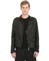 Giorgio Brato   Black Vegetable Dyed Washed Leather Jacket for Men   Lyst