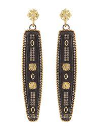Armenta - Black Elongated Blue Sapphire Maltese Cross Earrings - Lyst