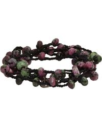 Feathered Soul | Multicolor Ruby Zoisite Bead & Braided Silk Wrap Bracelet for Men | Lyst