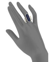 Meira T | Metallic Sodalite, Diamond & 14k Yellow Gold Baguette Triple-row Ring | Lyst