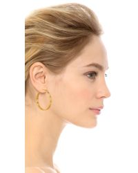 Tory Burch | Metallic T Hoop Earrings - Shiny Gold | Lyst