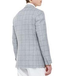 Brioni - Gray Windowpane Wool-Silk Jacket for Men - Lyst