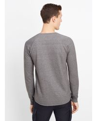 Vince - Black French Terry Long Sleeve Henley for Men - Lyst