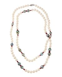 Belpearl | Multicolor Long Mixed Tahitian & Freshwater Pearl Necklace W/ Pink Sapphires | Lyst