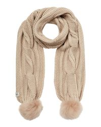UGG | Natural Reversible Cardy Scarf W/ Fur Poms | Lyst