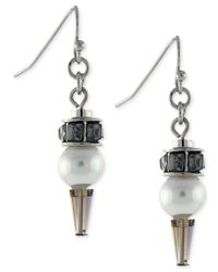 BCBGeneration | Metallic Rhodium-tone Imitation Pearl Drop Earrings | Lyst