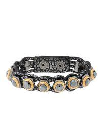 Henri Bendel - Black Rivet Wrap Bracelet - Lyst