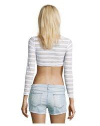 Vitamin A - White Crochet Striped 'Cannes' Cropped Rashguard - Lyst