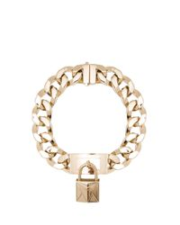 Givenchy | Metallic Chain Necklace with Metal Lock Front | Lyst