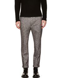 Kris Van Assche - Black and White Herringbone Trousers for Men - Lyst