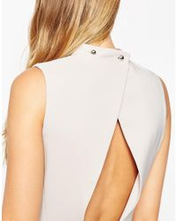 ASOS - Natural Petite Clean High Neck Midi Dress - Lyst