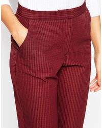 ASOS - Purple Tall Textured Cigarette Trouser - Lyst