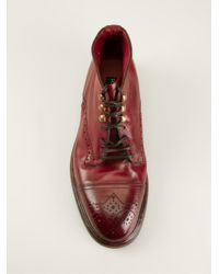 Dolce & Gabbana - Red Lace-Up Boots for Men - Lyst