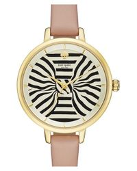 kate spade new york | Natural 'metro - Bow' Leather Strap Watch | Lyst