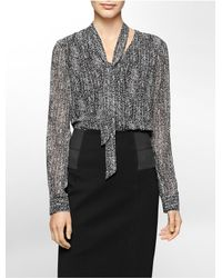 Calvin Klein | Black White Label Bold Print Neck Tie Chiffon Top | Lyst