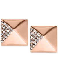 Michael Kors | Pink Crystal Pavé Pyramid Stud Earrings | Lyst