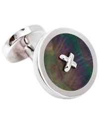 Thomas Pink - Metallic Mother Of Pearl Silver Buttons Cufflinks for Men - Lyst