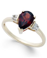 Macy's | Metallic Garnet (1-1/2 Ct. T.w.) And Diamond Accent Ring In 14k Gold | Lyst