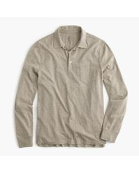 J.Crew | Natural Broken-in Long-sleeve Pocket Polo Shirt for Men | Lyst