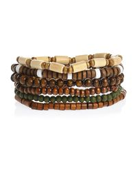River Island | Green Brown Beaded Bracelets Pack | Lyst